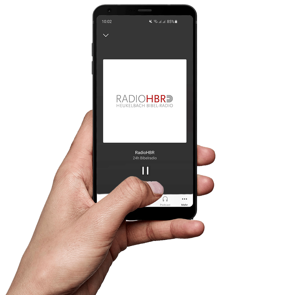 Hand mit Smartphone Radio HBR